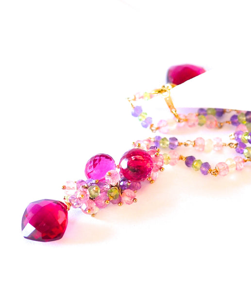 "Multi Color Necklace with Ruby Pink Quartz ""Beauty Queen"" - Handmade Jewelry - Renate Exclusive - 1"