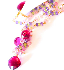 "Multi Color Necklace with Ruby Pink Quartz ""Beauty Queen"" - Handmade Jewelry - Renate Exclusive - 2"