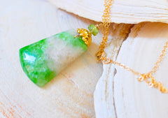 "Green and White Garnet Necklace ""Greenery Green"""