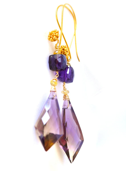 "Long Bi Color Ametrine Earrings ""Purple Rain"" - Handmade Jewelry - Renate Exclusive - 1"