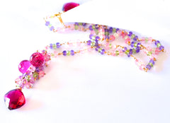 "Multi Color Necklace with Ruby Pink Quartz ""Beauty Queen"" - Handmade Jewelry - Renate Exclusive - 6"