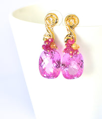 "Pink Topaz and Tourmaline Earrings ""Christy"" - Handmade Jewelry - Renate Exclusive - 4"