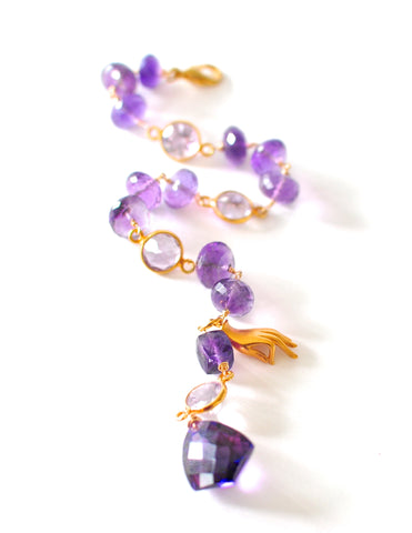 "Handmade Jewelry: Amethyst Rondelle and Purple Sapphire Bracelet ""Sanya"" - Handmade Jewelry - Renate Exclusive - 1"