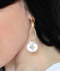 Forget Me Not! Clear and Long White Quartz Earrings - Handmade Jewelry - Renate Exclusive - 3
