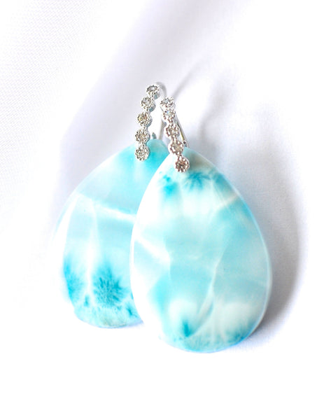 "Luxury Larimar Single Stone Drop Earrings ""Winter Luxury"" - Handmade Jewelry - Renate Exclusive - 1"