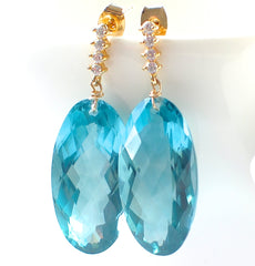 Forget Me Not! Super Stunning Blue Green Topaz Earrings - Handmade Jewelry - Renate Exclusive - 3