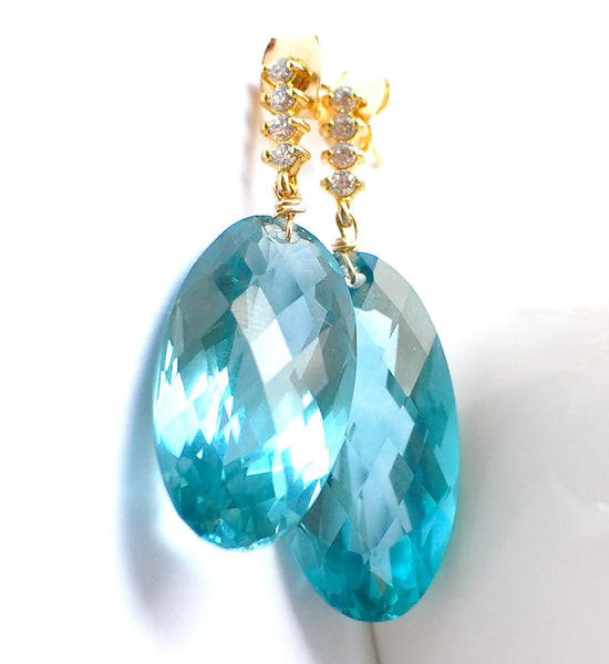 Forget Me Not! Super Stunning Blue Green Topaz Earrings - Handmade Jewelry - Renate Exclusive - 1