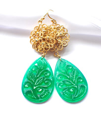 "Luxury and Unique Carved Green Onyx Art Deco Ferne-Leaves Scroll Briolette ""Art Deco Emerald"" - Handmade Jewelry - Renate Exclusive - 2"