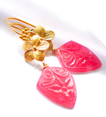 "Unique Hand Carved Pink Jade Kite Fancy Flower Earrings ""Pink Beauty "" - Handmade Jewelry - Renate Exclusive - 2"