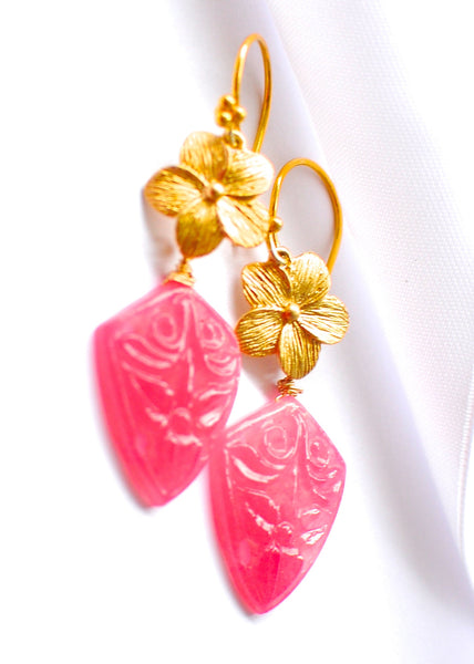 "Unique Hand Carved Pink Jade Kite Fancy Flower Earrings ""Pink Beauty "" - Handmade Jewelry - Renate Exclusive - 1"