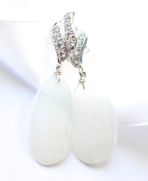 "White Moonstone Earrings ""Luxe Simple"" - Handmade Jewelry - Renate Exclusive - 1"