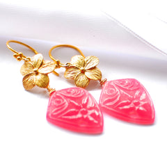 "Unique Hand Carved Pink Jade Kite Fancy Flower Earrings ""Pink Beauty "" - Handmade Jewelry - Renate Exclusive - 4"