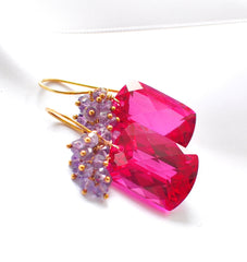 "Valentine's Day Hot Pink Topaz Earrings ""Luxe Hot Pink"" - Handmade Jewelry - Renate Exclusive - 2"