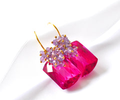 "Valentine's Day Hot Pink Topaz Earrings ""Luxe Hot Pink"" - Handmade Jewelry - Renate Exclusive - 4"