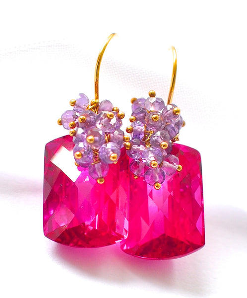 "Valentine's Day Hot Pink Topaz Earrings ""Luxe Hot Pink"" - Handmade Jewelry - Renate Exclusive - 1"
