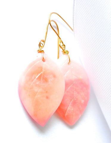 "Handmade Jewelry: Natural Pink Opal Carve Leaf Hoop Earrings ""Luxe Opal Leaf"" - Handmade Jewelry - Renate Exclusive - 1"