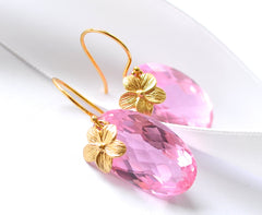 "Rose Pink Topaz Earrings with Flowers ""Luxe Rose"" - Handmade Jewelry - Renate Exclusive - 2"