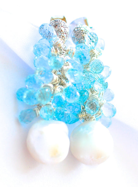 "Baby Blue Topaz and Kasumi Like Pearl Earrings ""Luxe Great Gatsby"" - Handmade Jewelry - Renate Exclusive - 1"