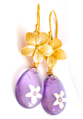 "Tiny Carved Flowers Inset Purple Sapphire Earrings ""Luxe Romance Flowers"" - Handmade Jewelry - Renate Exclusive - 4"