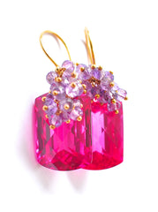 "Valentine's Day Hot Pink Topaz Earrings ""Luxe Hot Pink"" - Handmade Jewelry - Renate Exclusive - 3"