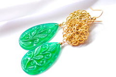 "Luxury and Unique Carved Green Onyx Art Deco Ferne-Leaves Scroll Briolette ""Art Deco Emerald"" - Handmade Jewelry - Renate Exclusive - 3"