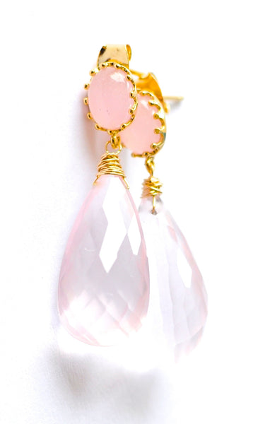 "Gorgeous Faceted Rose Quartz Earrings ""Luxe Rose"" - Handmade Jewelry - Renate Exclusive - 1"