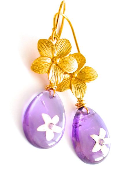 "Tiny Carved Flowers Inset Purple Sapphire Earrings ""Luxe Romance Flowers"" - Handmade Jewelry - Renate Exclusive - 1"