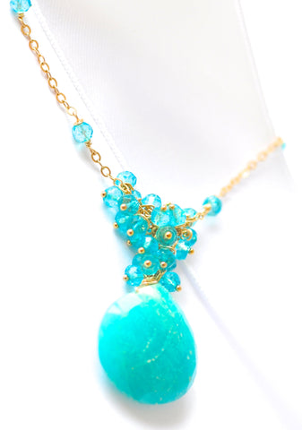 "Handmade Jewelry: 16''-30'' Caribbean Blue Amazonite and Quartz Necklace ""CaribbeanLuxe"" - Handmade Jewelry - Renate Exclusive - 1"