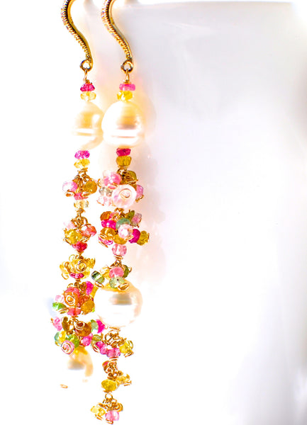Forget Me Not! Very Unique Multicolored Tourmaline and South Sea Pearl Long Earrings for Summer - Handmade Jewelry - Renate Exclusive - 1