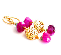 Forget Me Not! Oriental Hot Pink Dyed Moonstone Earrings - Handmade Jewelry - Renate Exclusive - 2