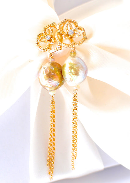 Forget Me Not! Kasumi-like Pearl Earrings - Handmade Jewelry - Renate Exclusive - 1