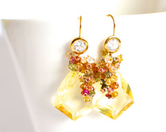 Forget Me Not! Yellow Quartz and Multicolored Gemstone Earrings - Handmade Jewelry - Renate Exclusive - 4