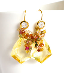 Forget Me Not! Yellow Quartz and Multicolored Gemstone Earrings - Handmade Jewelry - Renate Exclusive - 5