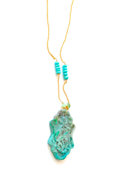 Summer Special! Boho Style Chrysocolla Pendant and Sleeping Beauty Necklace - Handmade Jewelry - Renate Exclusive - 1