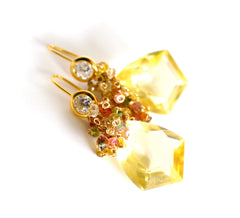 Forget Me Not! Yellow Quartz and Multicolored Gemstone Earrings - Handmade Jewelry - Renate Exclusive - 3