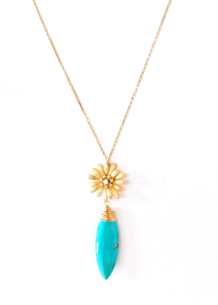 Summer Special! 14K Solid Yellow Gold Necklace with Sleeping Beauty - Handmade Jewelry - Renate Exclusive - 1