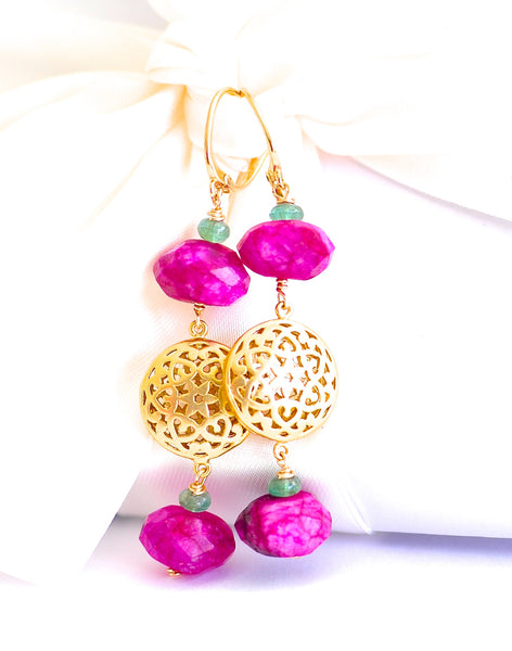 Forget Me Not! Oriental Hot Pink Dyed Moonstone Earrings - Handmade Jewelry - Renate Exclusive - 1