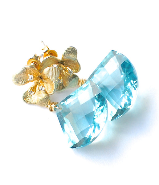 Forget Me Not! Blue Aquamarine Earrings - Handmade Jewelry - Renate Exclusive - 1