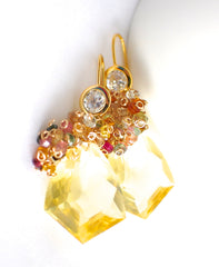 Forget Me Not! Yellow Quartz and Multicolored Gemstone Earrings - Handmade Jewelry - Renate Exclusive - 2