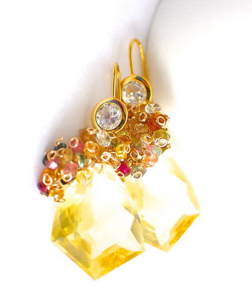 Forget Me Not! Yellow Quartz and Multicolored Gemstone Earrings - Handmade Jewelry - Renate Exclusive - 1