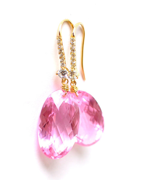 Forget Me Not! Luxe Soft Bright Rose Pink Topaz Earrings - Handmade Jewelry - Renate Exclusive - 1