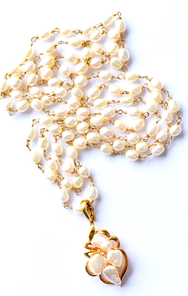 "HAPPY NEW YEAR 2020! Luxurious Long Freshwater Pearls and Antique 14K Yellow Gold Blister Pearl Diamond Pendant Necklace ""Pearls are gorgeous."""