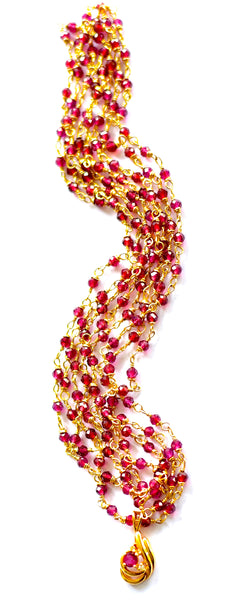 "HOLIDAY Special! Elegant Garnet Necklace with timeless 14K Yellow Gold Garnet Pendant ""Garnet Goddess"""