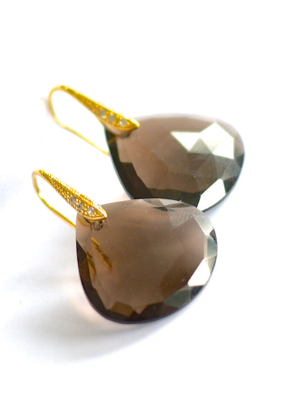 "Lovely Smoky Quartz Earrings ""Brown Eyes"""