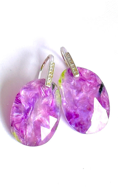 "Natural Charoite Earrings ""Purple Heart"""