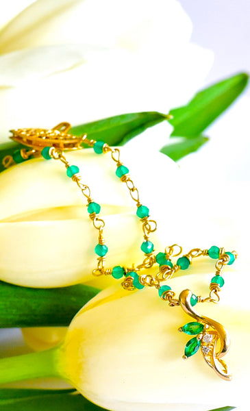"Special Friendship bracelet! Lovely Green Onyx and 14K Yellow Gold Emerald and Diamonds Pendant Bracelet ""Friendship""💐"