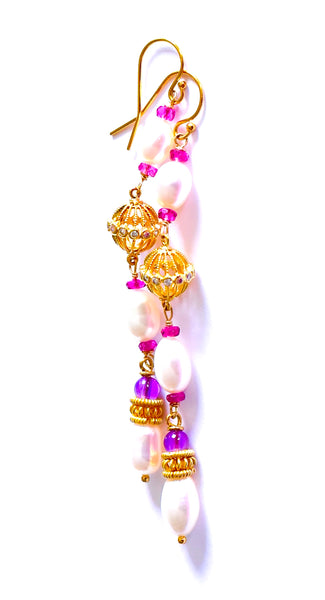 "Long Bollywood-Style Pearl and Gemstone Earrings ""Bollywood"""