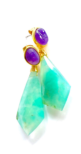 "Beautiful two-tone Aquaprase and Amethyst Earrings ""Ly"" 💐"