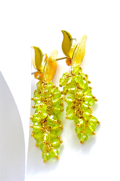 "Lovely Peridot Green Beads Earrings ""Spring Green"" 💐"
