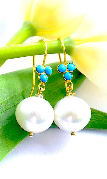 "Luxurious White South Sea Cultured Pearl and Turquoise Earrings ""Monaco"""